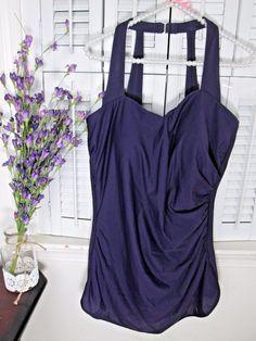 0fe482003495a Lands End Bathing Suit PURPLE Slender Suit Slim 1 Piece MSRP $119 Plus size  18