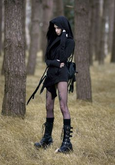 Post apocalyptic goth - dislike the bare legs for the fact that it is so stupid.