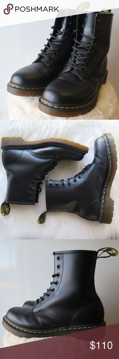 Dr. Martens 1460 W Re-posh. Bought them worn. I wore them around the house a couple times to stretch them out, but I only ended up wearing them for about a total of 3 hours before giving up. lol! My loss, your gain! Good condition except for some scuffs and creasing, all imperfections pictured. No box.   ✖️ I ship next day ✖️ Send me an offer and i'll counter my lowest Dr. Martens Shoes Lace Up Boots
