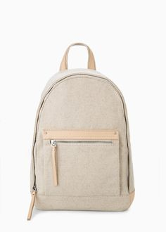 Pocket linen-blend backpack