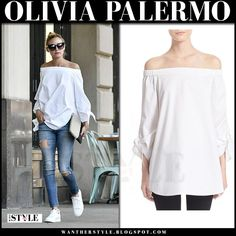 b4417dde702 Olivia Palermo in white off shoulder top and ripped jeans in New York