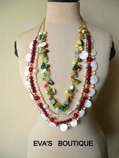 Large colorful statement necklace with white red by evarugina, €40.00