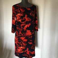 "Merona Size L NWOT dress Navy blue and red with black faux leather,beautiful dress  .Unlined .Length 38"" Fits to sizes 10-12 Merona Dresses"