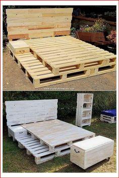 Wooden Pallet Beds, Pallet Bed Frames, Diy Pallet Bed, Diy Pallet Furniture, Pallet Ideas, Pallet Projects, Diy Wood Bed Frame, Diy Pallet Queen Bed Frame, Diy Projects