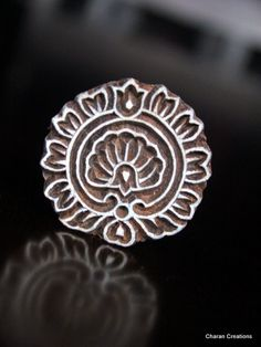 Hand Carved Indian Wood Textile Stamp Block-  Round Floral Motif. 1.75""