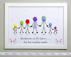 Grandparents Gift Mother's Day gift Button art This Nanny Gifts, Grandma Gifts, Family Gifts, Button Family Picture, Family Picture Frames, Grandparents Christmas Gifts, Grandparent Gifts, Personalised Family Print, Family Tree With Pictures