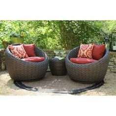 Corona Wicker Conversation Patio Furniture Set--3 pieces