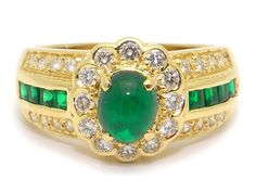 Beautiful 18k Yellow Gold 1.54ct Cabochon Green Emerald Diamond Cocktail Flower Band Ring Size 6.5 by AntiqueJewelryLine on Etsy