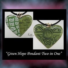 Green Hope Heart Polymer Clay Pendant BHV OGLD MHA by KabiDesigns, $10.00