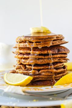 Gingerbread Pancakes with Lemon Syrup from The Food Charlatan