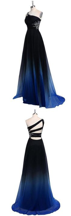 One Shoulder Blue and Black Chiffon A-Line Ombre Appliques Open Back Prom Dresses PH466,#ombre#chiffon#oneshoulder#openback#aline#blackandblue#appliques#promdress#prom#dress#elegant