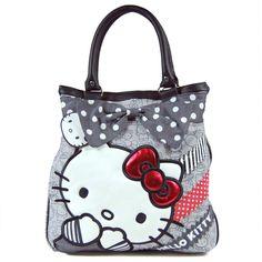 Loungefly Hello Kitty Polka Dot Bow Tote Bag Grey