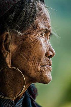 Elderly Hmong woman . Sapa village . Vietnam