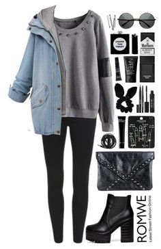"""Romwe 3"" by scarlett-morwenna ❤ liked on Polyvore featuring moda, Topshop, Bobbi Brown Cosmetics, Urbanears, Stila, Tom Ford, NARS Cosmetics, MAKE UP FOR EVER, ASOS y BOBBY"