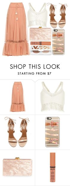 """street style"" by sisaez ❤ liked on Polyvore featuring Chloé, River Island, Aquazzura, Casetify, Edie Parker and NYX"