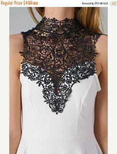 Venice Lace Crochet Collar Applique for Fashion Crafts by KBazaar