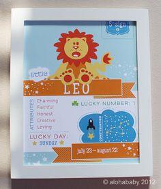 Leo Baby Zodiac Print by alohababydesign on Etsy