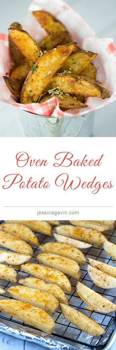 Crispy oven baked potato wedges with sour cream chive dipping sauce | jessicagavin.com #frenchfries #appetizer