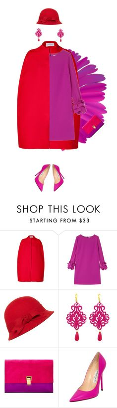 """""""RED AND FUCHSIA: WHAT DO YOU THINK ABOUT THIS TWO COLORS TOGETHER?"""" by myfashionadvices-ig ❤ liked on Polyvore featuring Valentino, Paule Ka, Tità Bijoux, Proenza Schouler, Jimmy Choo, red and reddress"""