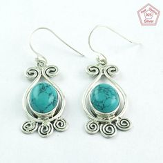 CLASSIC TURQUOISE STONE 925 SOLID STERLING SILVER EARRINGS E5258 #SilvexImagesIndiaPvtLtd #DropDangle