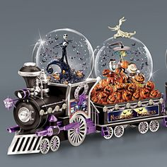 Disney Nightmare Before Christmas Snowglobe Train Collection Nightmare Before Christmas Snowglobe, Nightmare Before Christmas Decorations, Halloween Decorations, Christmas Snow Globes, Christmas Items, Christmas Fun, Disney Snowglobes, Glitter Globes, Musical Snow Globes