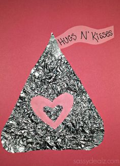 """Hugs N Kisses"" Hershey's Kiss Tin- Foil Craft For Kids {Valentine's Day Idea} #DIY Valentines card 