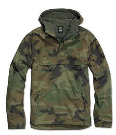 Brandit-Windbreaker-Mens-Hoody-Rain-Jacket-Lined-Jacket-Army