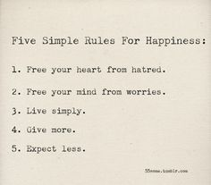 5 simple rules of happiness