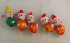 Vintage Christmas Ornament ~ Spun Cotton Head Santas & Elf.
