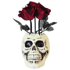"Creep out your party guests with the Animated Skull Vase with Roses by Sunstar. This animated skull vase with moving flowers will be a great addition to your spooky Halloween décor. The Animated Skull Vase with Roses by Sunstar features a skeleton head with blackened eye sockets and red faux roses that move when turned on. Measures 14"" L x 7.5"" W x 5"" T. Requires 3 AA batteries (not included)"