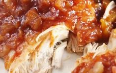 Ingredients:     4-6 boneless, skinless chicken breasts   1 can (8 oz.) crushed pineapple   1 bottle (16 ounces) barbeque sauce    Directions:     Place chicken in a greases 3.5-5 quart crock pot   Combine pineapple and BBQ sauce and pour over
