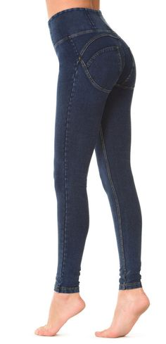 a46951f9d35 WR.UP® SHAPING EFFECT - High Waist Skinny - Dark Blue Denim + Yellow  Stitching