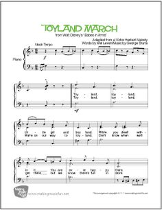 Toyland March - Easy Piano Sheet Music (Digital Print) - Visit MakingMusicFun.net for free sheet music, music theory worksheets, and composer resources.