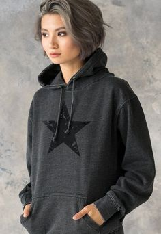ad36bab891bf Black Distressed Star Hoodie Minimalist Abstract Geometric Streetwear Retro  Graphic Design Womens Mens Sweatshirt Washed Brushed Hooded Top