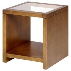 Aparadouro- A:50; L:45; P:45 - Prazo de 7 dias úteis - Mesa lateral com estrutura em madeiras maciça (Tauari e Pinus), compensada e aglomerada laminada (Jequitibá), tingidas, com acabamento encerado. Possui tampo em vidro incolor temperado e 1 prateleira fixa - R$ 755,00