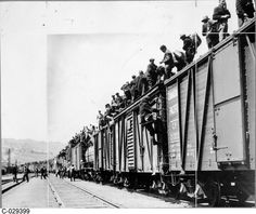 On to Ottawa Trek--many sources use the same picture making it reliable--Canadians were desperate and needed jobs.  People loaded on to trains to try to head to Ottawa to demanding to speak with leaders.This shows how tough times were and how people were angry with the government.