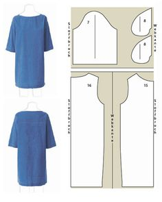blue dress with sleeves sectional drawing FREE downloadable pattern.  Like Burda, all on same sheet in different colors.
