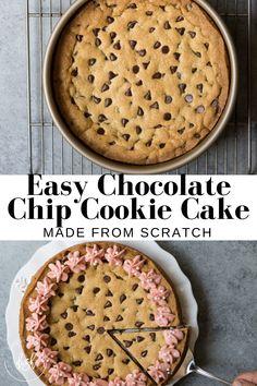 Fun Baking Recipes, Easy Cake Recipes, Sweet Recipes, Dessert Recipes, Cooking Recipes, Cookie Cake Recipes, Cookie Cake Icing, Giant Cookie Cake, Giant Cookies
