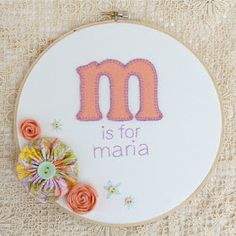 applique and stitching idea!  darling hoop, stitch & flower combo