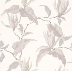 Vacker magnolia i retrostil från kollektionen Valldemossa 440454. Klicka för att se fler fina tapeter för ditt hem!