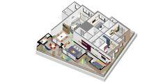 Image 29 of 31 from gallery of Mira Apartment / SuperLimão Studio. Studio Floor Plans, Suites, Apartment Interior, Flooring, Interior Design, Gallery, Image 30, Home Decor, Infographic