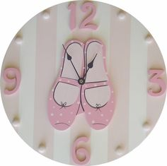 Pink & White Striped Hand Painted Wooden Ballet Kids Wall Clock, Custom Colors Available! - to start coupon curtains Ballet Room, Ballerina Nursery, Ballet Kids, Ballet Shoes, Baby Decor, Nursery Decor, Clock For Kids, Kids Clocks, Shoe Wall