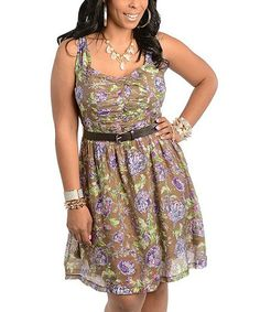 Another great find on #zulily! Mocha & Violet Floral Belted A-Line Dress - Plus #zulilyfinds