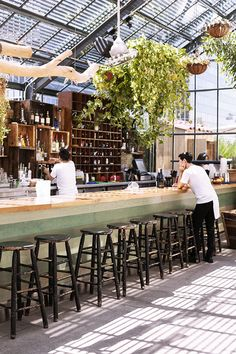 The Commissary Restaurant at the Line Hotel, Koreatown, Los Angeles. Cafe Bistro, Cafe Bar, Cool Restaurant, Restaurant Design, Bar Interior, Interior Plants, Garden Cafe, Bar Lounge, Hospitality Design
