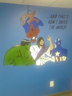 got this idea from the web, but we painted it in our super hero themed sunday school class KP