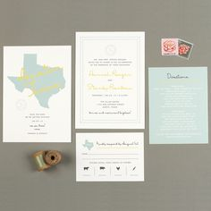 """Brides.com: Invitations and Stationery for a Destination Wedding. An Invitation for an Austin, Texas, Destination Wedding. """"Note Home"""" invitation suite, starting at $95 for a set of 25, Love vs. Design  See more casual wedding invitations and stationery."""