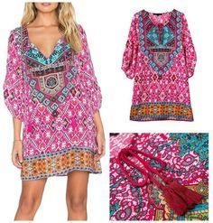 Jasmine Bohemian Neck Tie Floral Print Boho Style Shift Dress | GoGetGlam