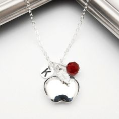 Personalized Necklace & Birthstone Gift For Teacher Teacher Necklace Apple Necklace Snow White, Inital Necklace, Engraved, STERLING SILVER.. $29.50, via Etsy.