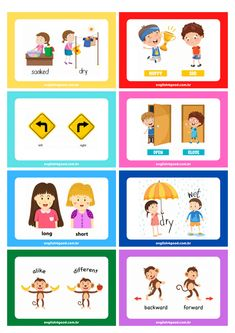 Preschool Writing, Preschool Learning Activities, Color Activities, Advanced Vocabulary, Vocabulary Practice, Freedom Writers Movie, Opposite Words For Kids, Flashcards Revision, English Vocabulary Words
