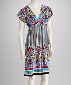 Take a look at this Aqua & Red Floral Stripe Surplice Dress by jon & anna on #zulily today! $17.99